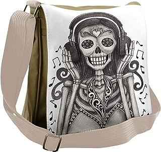 Day of the Dead Messenger Bag, Girl Headphones, Unisex Cross-body