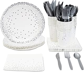 Juvale Silver Foil Party Supplies (Serves 24) Plates, Napkins, Cups, Cutlery - Polka Dots