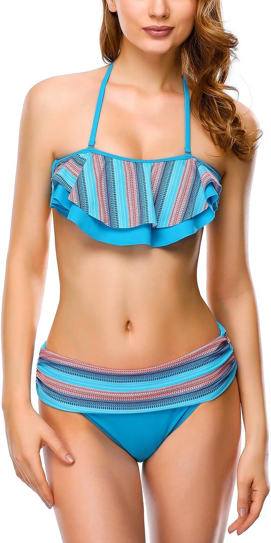 Dafunna Women Bikini Sets Vintage Style High Waisted Halter Padded 2 Pieces Swimsuits with Rainbow Stripe Ruffles