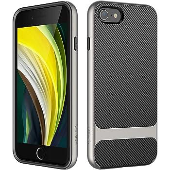 JETech Funda Compatible iPhone SE 2ª Generación, iPhone 8 y iPhone 7, Carcasa con Fibra de Carbono, Anti-Choques, Gris