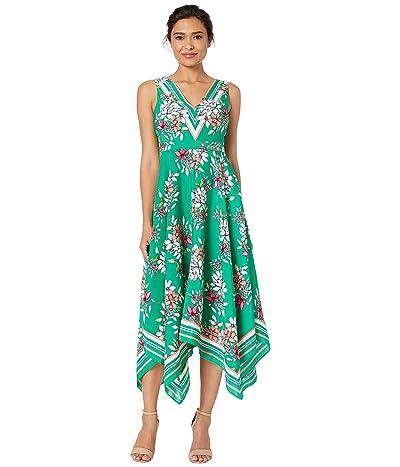 Vince Camuto Printed Handkerchief Hem V-Neck Dress (Green Multi) Women