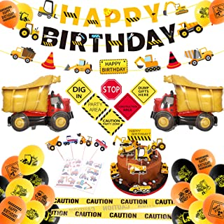 Construction Birthday Party Supplies Decorations Kit for Boys Dump Truck Birthday Party with Kids Cake Toppers, Caution Tape, Construction Banners decorations, Balloons, Party Signs -OrightJoys