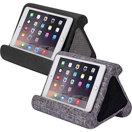 Flippy Fun Size, Compact Multi-Angle Soft Pillow Lap Stand for Mini iPads, Tablets, eReaders, Smartphones, Books, for All Ages, Easy to Store and Travel with (Smokey,Weave Me Alone, 2-Pack)