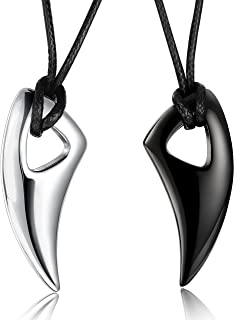 Stainless Steel Necklace for Men Necklace Chain Spear Wolf Teeth Pendant Adjustable Chains