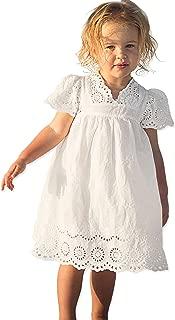 White Cotton Dress Girls Flutter Short Sleeve Flower Princess Dress Size3-10
