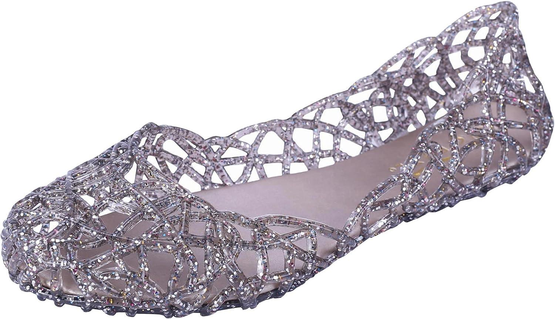 Glaze Women's Cutout Glitter Jelly Round Toe Ballet Flats