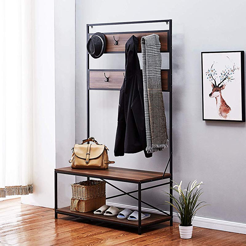 Rose Home Fashion Coat Rack Hall Tree Shoe Rack Bench Coat Rack Free Standing Entryway Organizer Entryway Bench With Coat Rack 7 Hangers CARB Phase 2