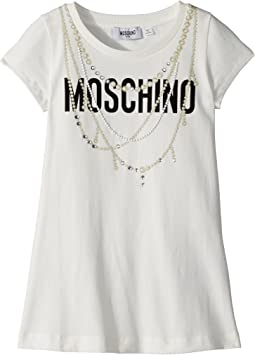 Moschino Kids - Short Sleeve Logo Dress w/ Pearl Necklace Design (Little Kids/Big Kids)