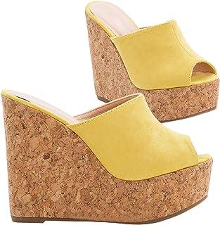 dbee59066 Meilidress Womens Espadrille Wedge Heels Slip On Platform Slides Cork Peep  Toe Suede Mules Sandals