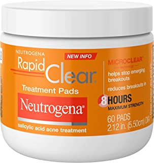Neutrogena Rapid Clear Maximum Strength Acne Face Pads with 2% Salicylic Acid Acne Treatment Medication to Help Fight Brea...