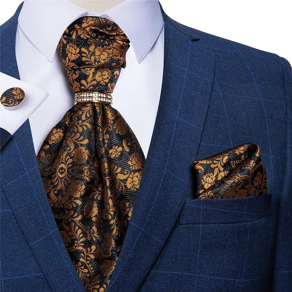 NJBYX Men's Tie Ring Pocket Square Cufflinks Set Vintage Floral Silk Cravat Wedding Party Necktie (Color : Floral, Size : One size)