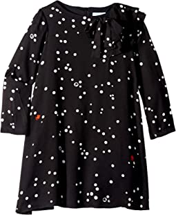 Long Sleeve Polka Dot Dress with Ruffle Detail (Little Kids/Big Kids)