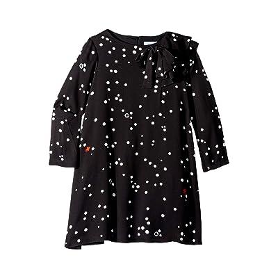 Lanvin Kids Long Sleeve Polka Dot Dress with Ruffle Detail (Little Kids/Big Kids) (Black) Girl