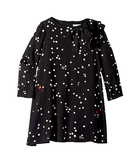 Lanvin Kids Long Sleeve Polka Dot Dress with Ruffle Detail (Little Kids/Big Kids)