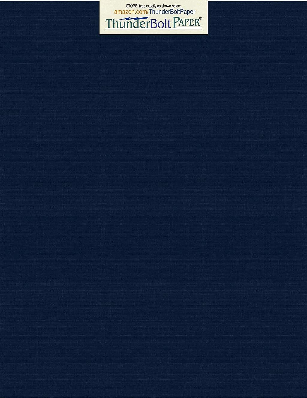 150 Dark Navy Blue Linen 80# Cover Paper Sheets - 8.5