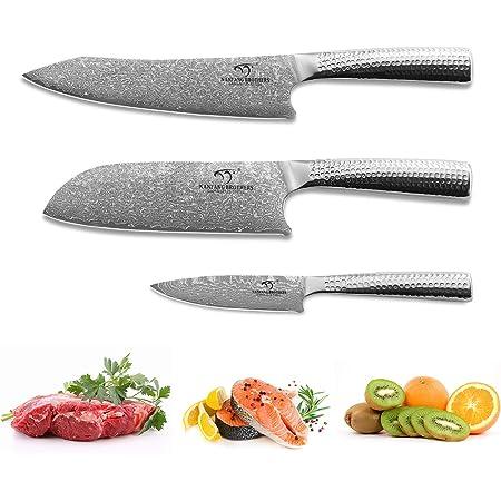 Ensembles de couteaux de cuisine, 3 pièces VG10 Ensemble de couteaux de cuisine en acier damas, couteau de chef Couteau Santoku Couteau à fruits Ensembles de couteaux de cuisine japonais