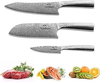 Ensembles de couteaux de cuisine, 3 pièces VG10 Ensemble de couteaux de cuisine en acier damas, couteau de chef Couteau Sa...
