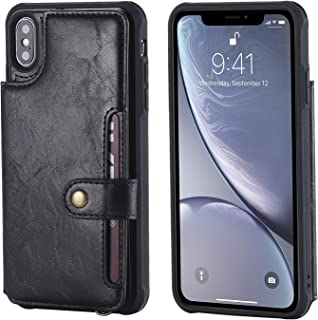 Wallet Leather Case for XS Max 512gb 64gb 256gb Apple iPhone,Kickstand Protective Card Holder Magnetic Snap Wrist Strap Durable Cover Shell Girl Boy Men Women-Black
