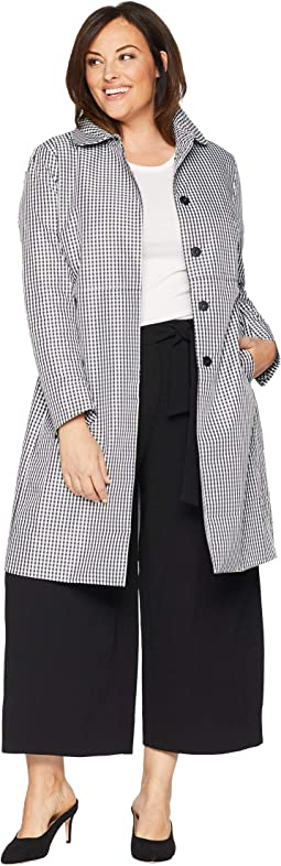Plus Size Gingham Coat