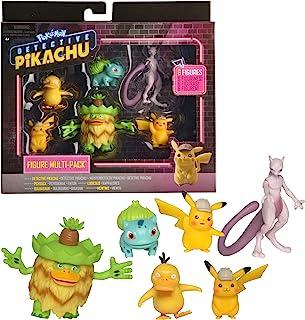 "Pokémon Detective Pikachu Battle Figure 6pc Multi-pack - Comes with Two 2"" Pikachu, 2"" Psyduck, 2"" Bulbasaur, 3"" Mewtwo & 3"" Ludicolo"