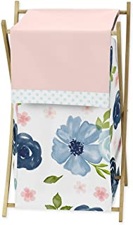 Sweet Jojo Designs Navy Blue and Pink Watercolor Floral Baby Kid Clothes Laundry Hamper - Watercolor Floral Shabby Chic Ro...