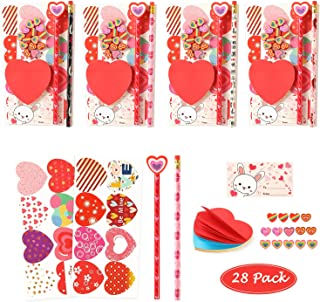 Valentines Day Gifts for Kids Classroom - 28 Packs Super Value Valentines Stationery Kit, Valentines Cards with Stickers, ...
