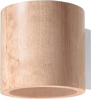 Sollux SL.0490 Orbi Applique murale moderne en bois naturel pour salon, chambre, salle de bain, couloir, bureau, culot G9