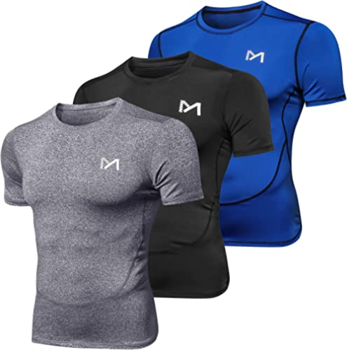 MEETYOO Tee Shirt Homme, Compression Maillot Manches Courtes T-Shirt Baselayer Running Vetement pour Sports Jogging M...