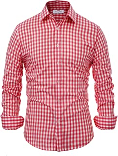 Paul Jones German Bavarian Oktoberfest Dress Shirt Checkered Button Down Shirt
