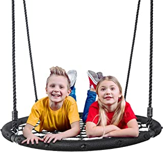 "SUPER DEAL Largest 48"" Web Tree Swing Set - Extra Large Platform - 360 Rotate°- Adjustable Hanging Ropes - Attaches to Trees or Existing Swing Sets - for Multiple Kids or Adult"