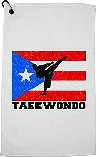 Hollywood Thread Puerto Rico Olympic - Taekwondo - Flag Golf Towel with Carabiner Clip