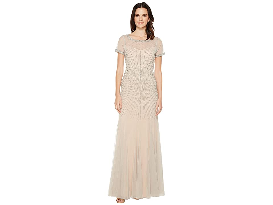 Adrianna Papell Gride Beaded Gown with Godets (Silver/Nude) Women