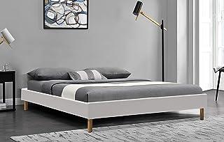 King of Dreams Gregory - Solide et Confortable Sommier Tapissier Blanc + Pieds en 20 cm pour Matelas en 90x190-13 Lattes -...