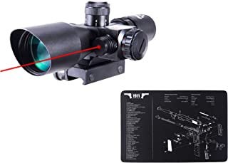 Pinty 2.5-10x40 Red Green Illuminated Mil-dot Tactical Rifle Scope with Red Laser Combo&Pinty Handgun Cleaning Mat Detaile...