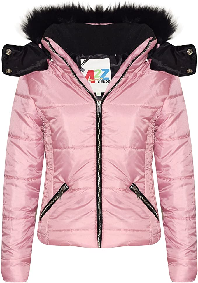 Kids Girls Jacket Puffer Hooded Faux Fur Pink Padded Zipped Belted Top Warm Coat