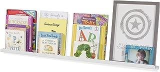Wallniture - Wall Mount Aluminium Floating Shelf for Baby Nursery Decor - Kids Metal Book Photo Display Ledge Bookshelf White 46 Inch