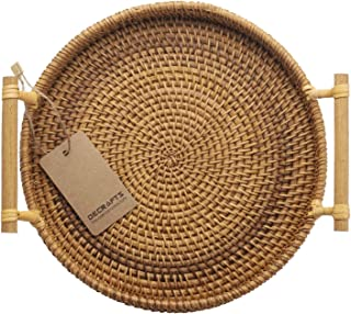 DECRAFTS Rattan Bread Basket Round Woven Tea Tray with Handles for Serving Dinner Parties Coffee Breakfast (8.7 inches)