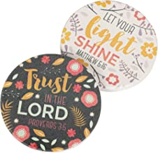 Trust in the Lord Let Your Light Shine Floral 2.75 x 2.75 Absorbent Ceramic Car Coasters Pack of 2