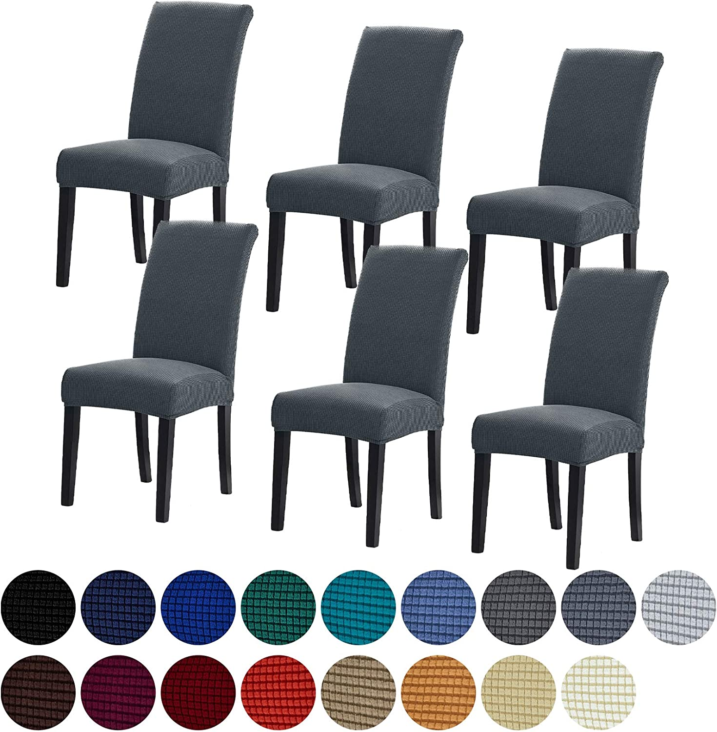 Howhic Stretch Chair Covers for Dining Room Set of 6, Removable Washable Dining Room Chair Covers, Dining Chair Slipcovers Seat Protector, Great Home Decor and Banquet Upholstery (Gray, 6 Pack)