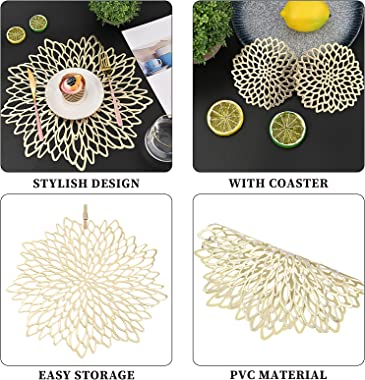 16PCS Pressed Vinyl Metallic Placemats and Coaster Sets,Round Wedding Dining Table Mats Kitchen Decor Placemats, Leaf Gold Le