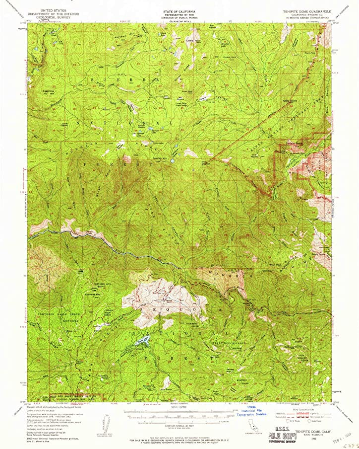 YellowMaps Tehipite Dome CA topo map, 1:62500 Scale, 15 X 15 Minute, Historical, 1952, Updated 1959, 20.7 x 16.6 in