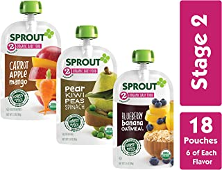 Sprout Organic Stage 2 Baby Food Pouches, Variety Pack, 3.5 Ounce (Pack of 18) 6 of Each: Carrot Apple Mango, Blueberry Banana Oatmeal & Pear Kiwi Peas Spinach