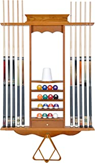 Cue Rack Only- 10 Pool - Billiard Stick & Ball Wall Rack Choose Oak, Black or Mahogany Finish Made of Wood