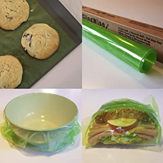 Reusable Food Wrap, Cling Film, Baking Sheet - Better than Beeswax Food Wrap, Eco Friendly, Sustainable 100% Food Grade Silicone - Food Storage, Wrap, Seal & Bake - 4.9ft Roll 12in Wide Cut Any Size