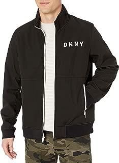 DKNY Men's Stand Collar Softshell Track Bomber Jacket