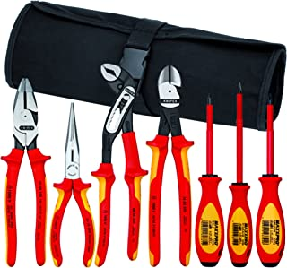 Knipex 989826US 7-Piece 1000V Insulated High Leverage Pliers, Cutters, and Screwdriver Commercial Tool Set