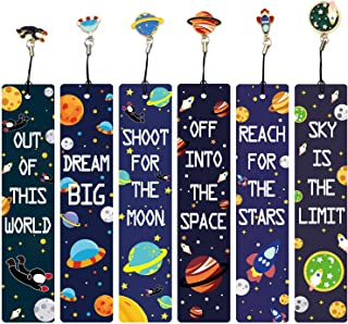 12 Pcs Space Theme Bookmarks with Metal Charms, Inspirational Quotes Bookmarker for Men and Women, Excellent Party Favors ...