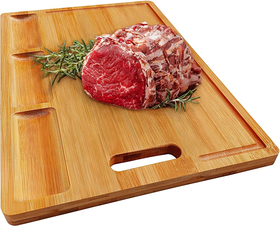 HHXRISE XXL Organic Bamboo Cutting Board For Kitchen, With 3 Built-In Compartments And Juice Grooves, Heavy Duty Chopping Board For Meats Bread Fruits, Butcher Block, Carving Board, BPA Free…