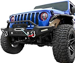 OEDRO Front Bumper, Compatible for 2018-2019 Jeep Wrangler JL & Unlimited Rock Crawler Bumper with Winch Plate Mounting & 4 x LED Lights & 2 x D-Rings