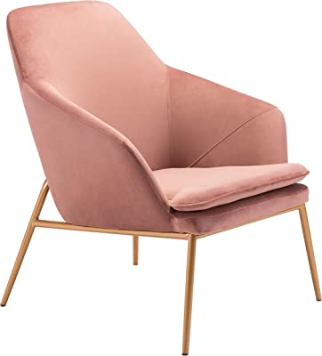 Zuo Arm Chair, Pink Velvet